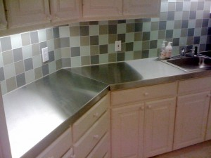 stainless steel tile backsplash