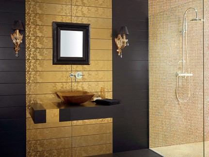 Golden bathroom tiles