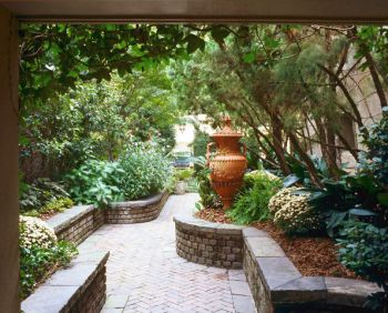 Entrance Garden with Brick Walkway