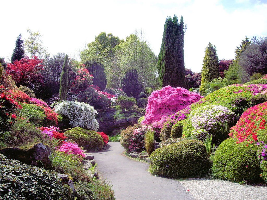 River rock flower bed designs home decorating ideas for Beautiful flower landscapes