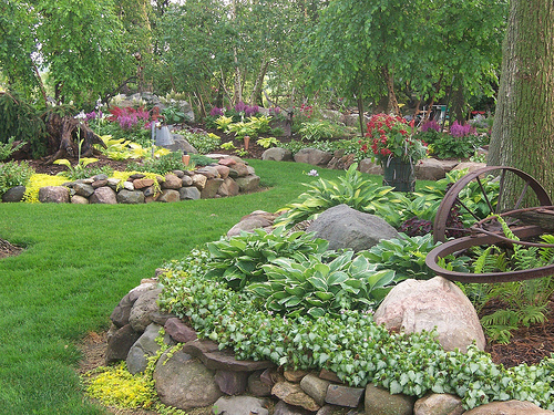 Rock garden designs perennials home designs project Backyard landscaping ideas with stones