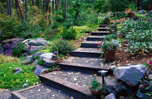 slope garden design path
