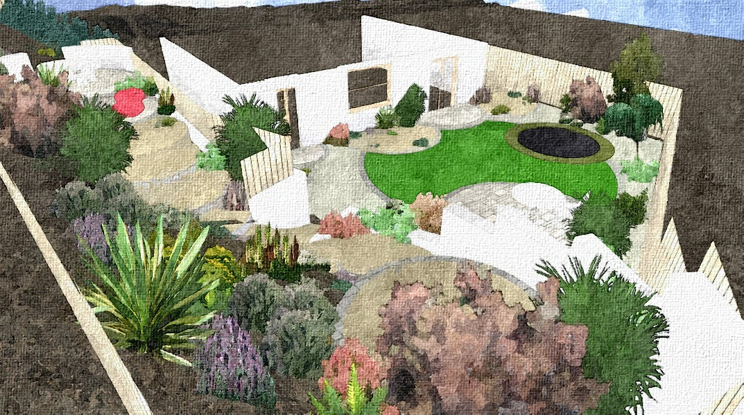 slope garden design sketch - Garden Design Slope