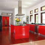 red Kitchen cooking islands