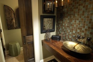 Upscale bathrooms with black countertop