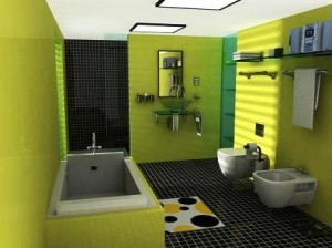 Upscale bathrooms with black countertops