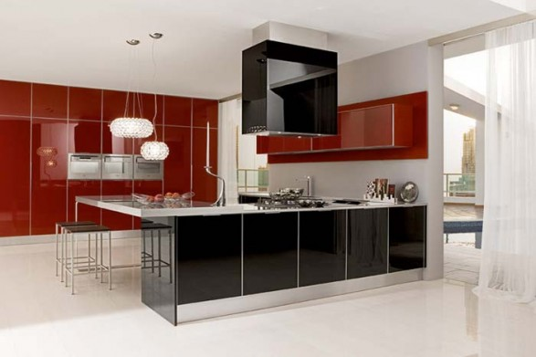 black and red kitchen cabinets