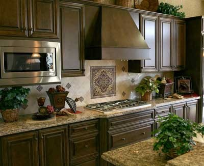 Kitchen Tile Backsplash Ideas with Black cabinets Photos