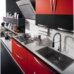 modern red kitchen cabinets
