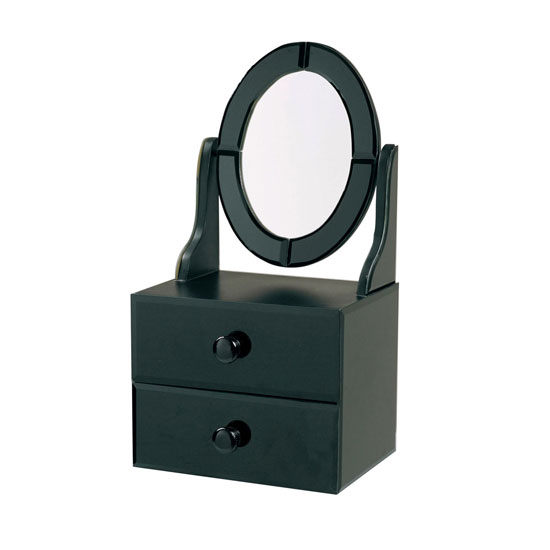 black dresser with mirror