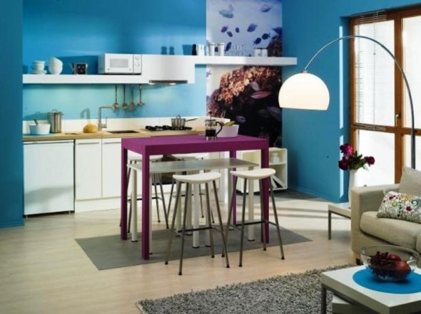 Blue Kitchen Ideas Decorations  Home Designs Project -> Kuchnia Z Tapeta