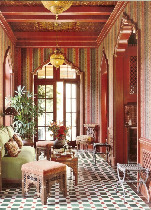 ethnic maroon interior