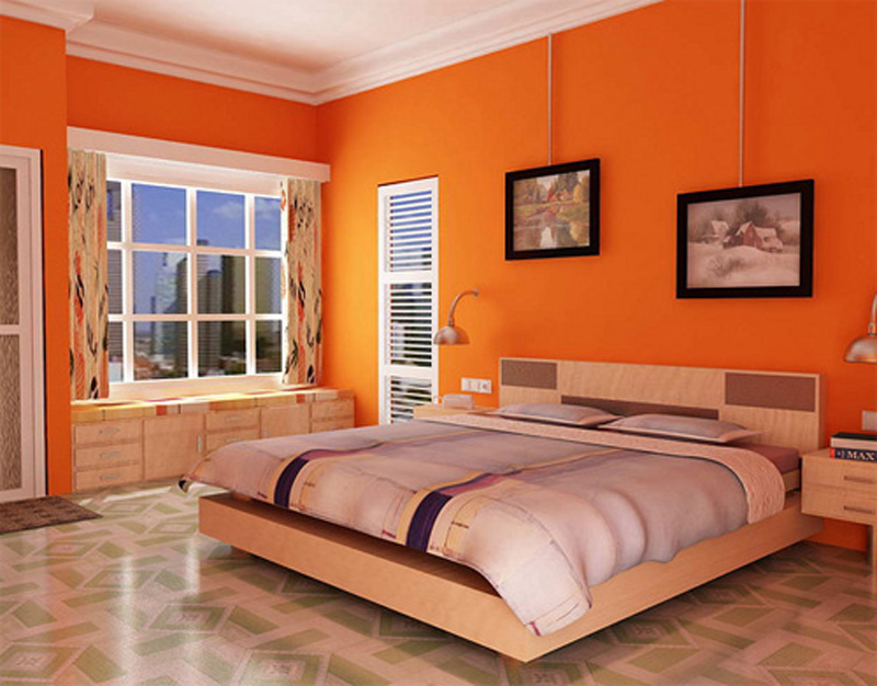 modern orange bedroom ideas