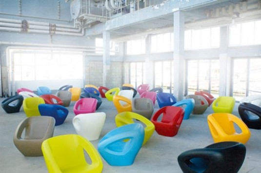 multi colored armchairs