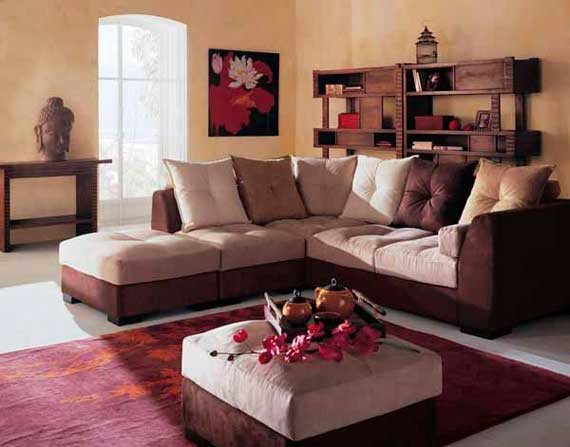 Modern oriental living room home designs project for Oriental sofa designs