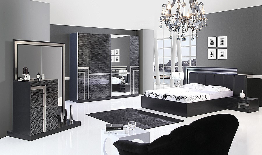 Black and silver bedroom