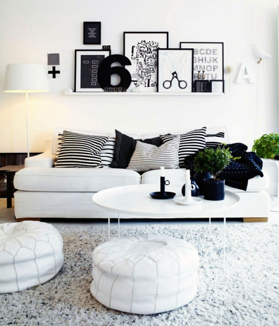 Decorating Living Room In Black And White Color