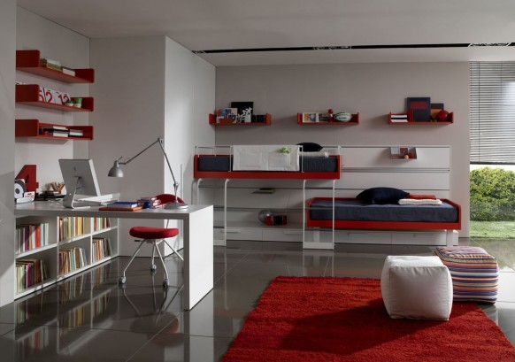 boys room with bunk beds
