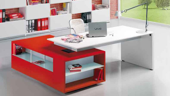 Bright color office desks home designs project - Small l shaped desks for small spaces design ...