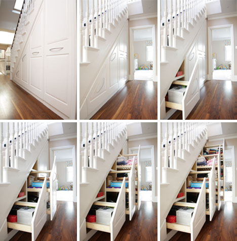 storage under staircase ideas