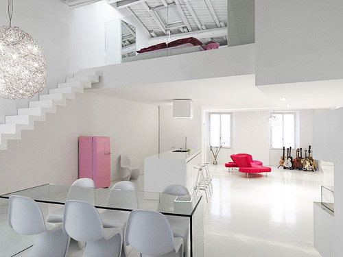 white loft apartment