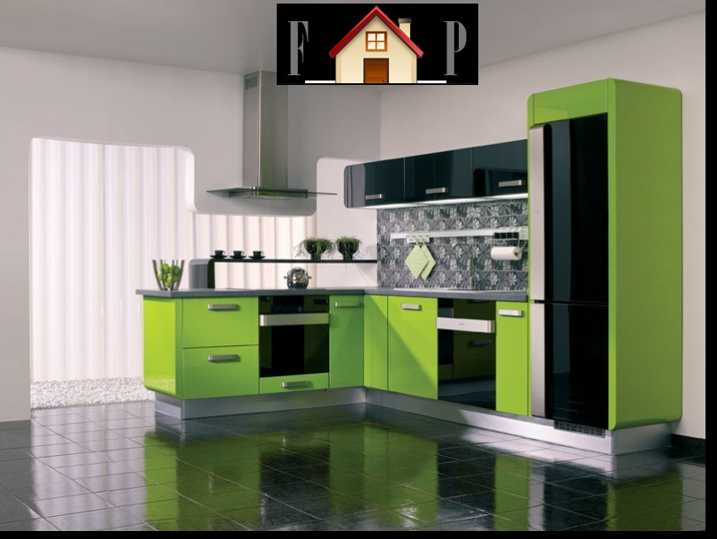 Kitchen design with a few green touches