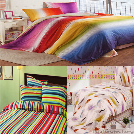 multi-colored bedding set