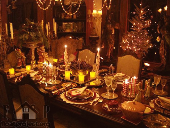 Christmas table decoration home designs project for Dining decoration pictures