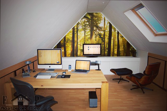 home office in the attic