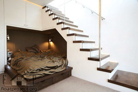 bed under the stairs