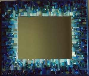 mirror with a blue frame