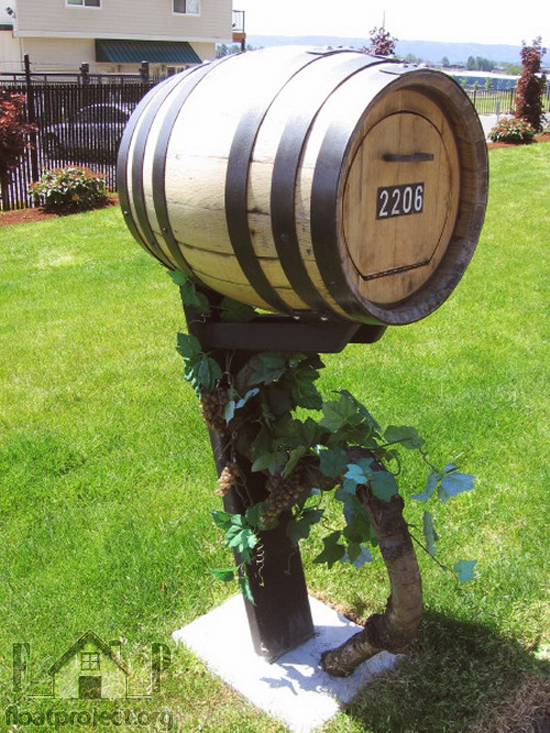 wine barrel mailbox