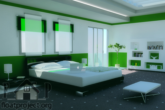 Green bedroom interior