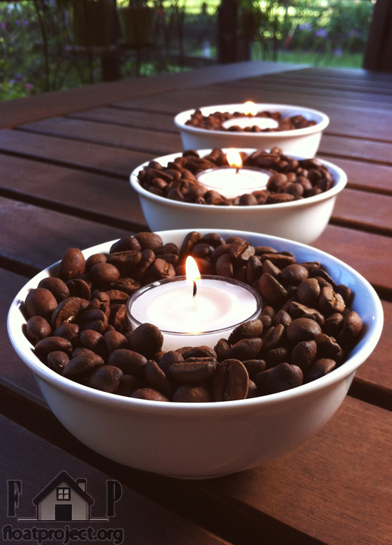 coffee beans candle holder