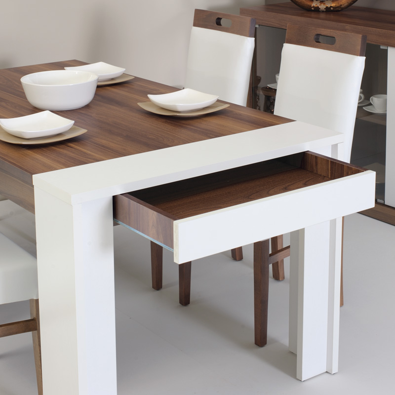 Dining table drawer home designs project for Table extensible petit espace