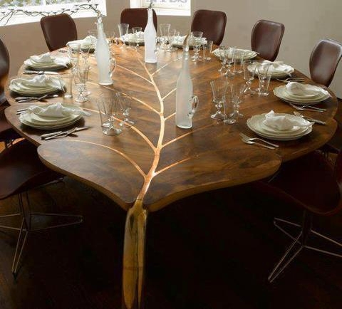 leaf-shaped dining table