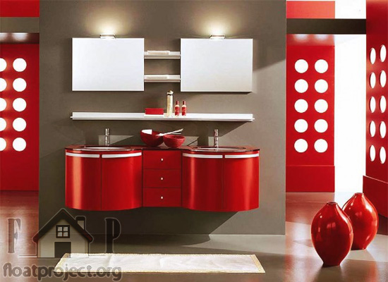 Contemporary bathroom with red elements