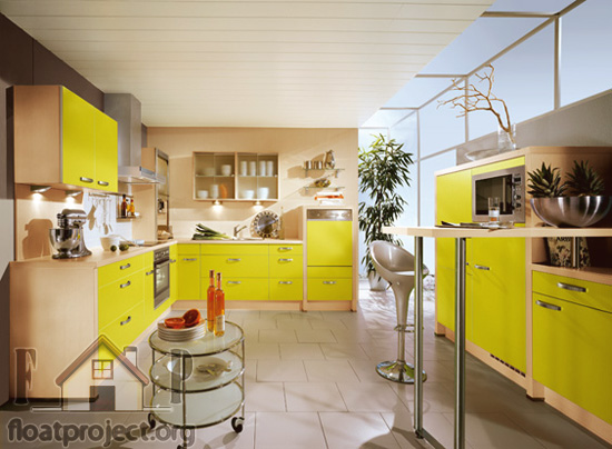 Yellow in the interior design and decoration
