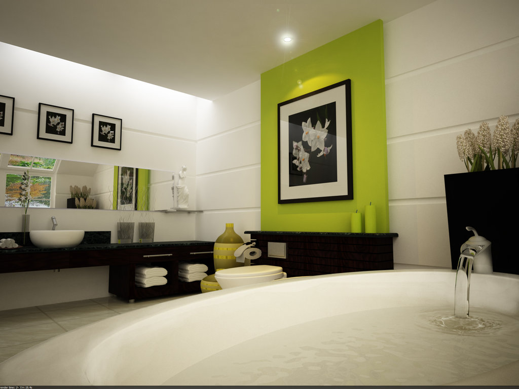 Bathroom interior design in green and white with a bathtub for Bathroom interior design white