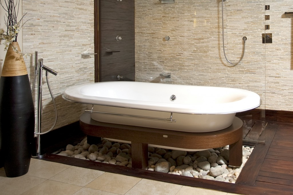 bathroom stone decor