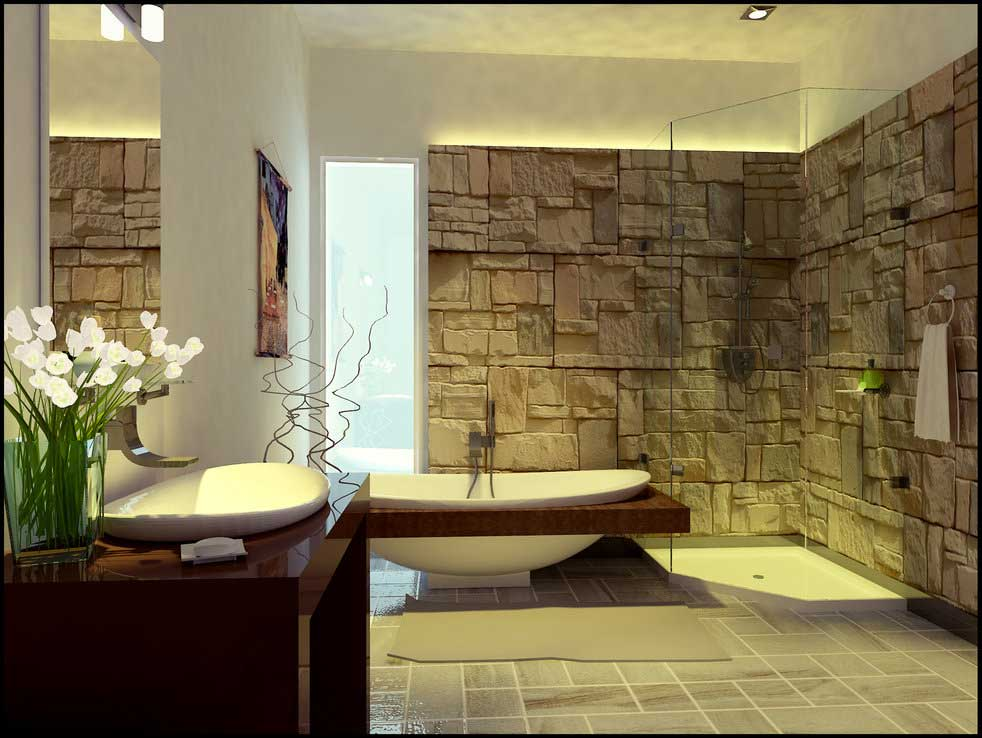bathroom stone wall