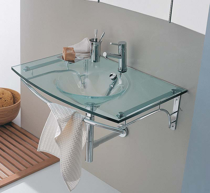 Glass bathroom furniture and fixtures