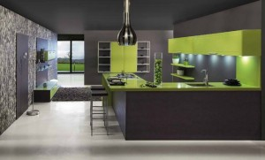 gray and green kitchen