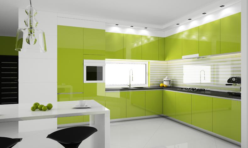 Modern kitchen interior design in green | Home Designs Project