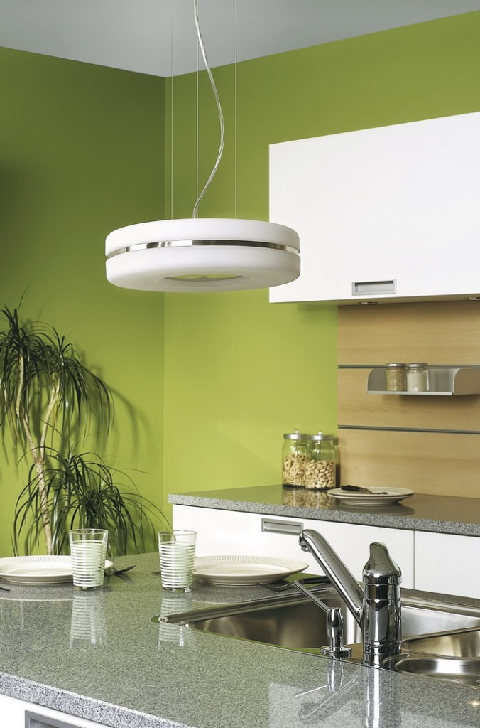 green kitchen walls