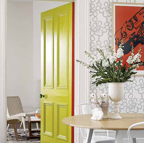 Yellow interior door for the kitchen