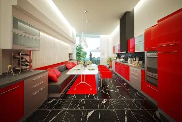 This Bright Red Accent Rug Looks Great In The Modern Interior Of Kitchen It Contrasts With Color Dining Table While Matching