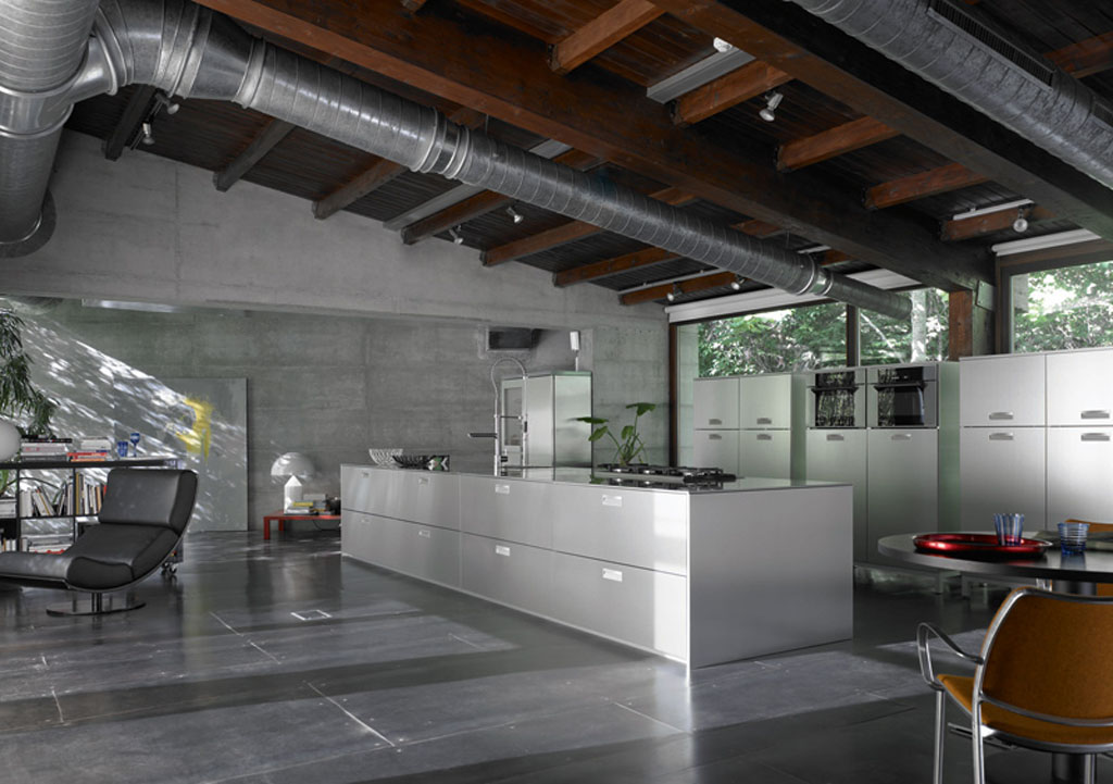 Kitchen interior design ideas industrial style kitchen for Modern kitchen design aluminium
