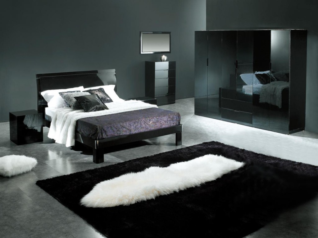 Modern interior design ideas for the bedroom home for Dark walls white furniture