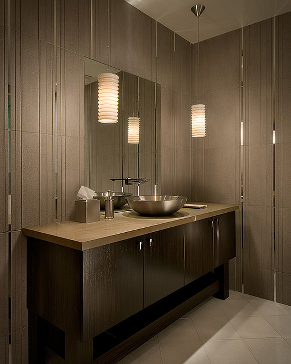 Innovative Pendant Lighting Bathroom Vanity For Awesome Nuance White Bathroom